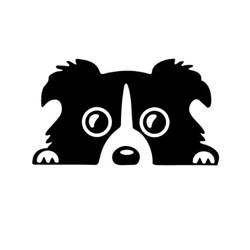 14*8CM Border Collie DOG Personality Reflective Glass Rear Pet Car Sticker Black/Silver CT-505