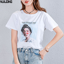 NIJIUDING White Female T-shirt 2019 T Shirts Summer Novelty Tee T Shirt Short Sleeve Print Women Cotton O-Neck Tops Tees