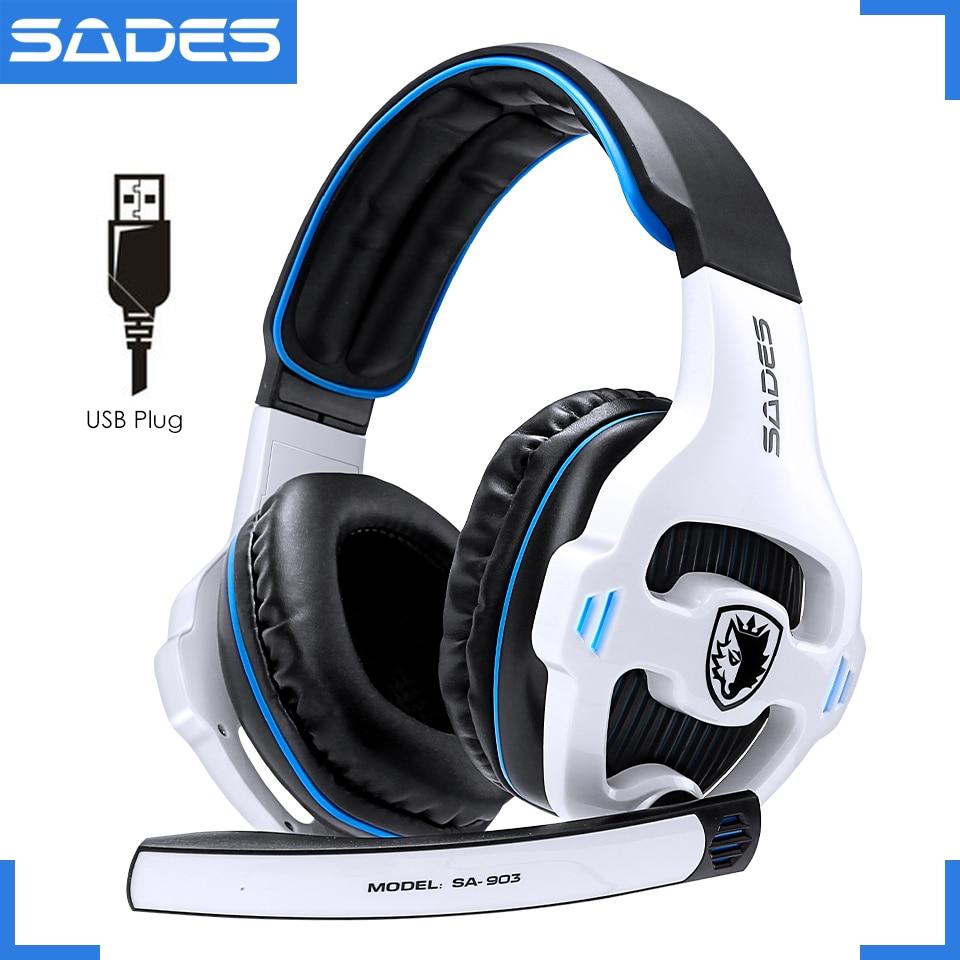 SADES SA-903 Высокопроизводительные 7,1 USB PC наушники с глубокими басами, игровые наушники со светодиодным микрофоном для игр
