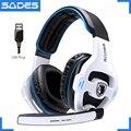 SADES SA-903 de alto rendimiento 7,1 USB PC Headset Deep Bass Gaming auriculares con micrófono LED para juegos jugador