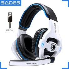 Sades SA 903 고성능 7.1 usb pc 헤드셋 게임 플레이어 용 led 마이크가 장착 된 딥베이스 게임용 헤드폰