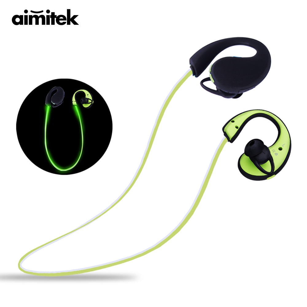 Aimitek S967 Glowing LED Light Bluetooth Earphones Handsfree Sports Headsets Wireless Stereo Earbuds with Mic for Smartphones