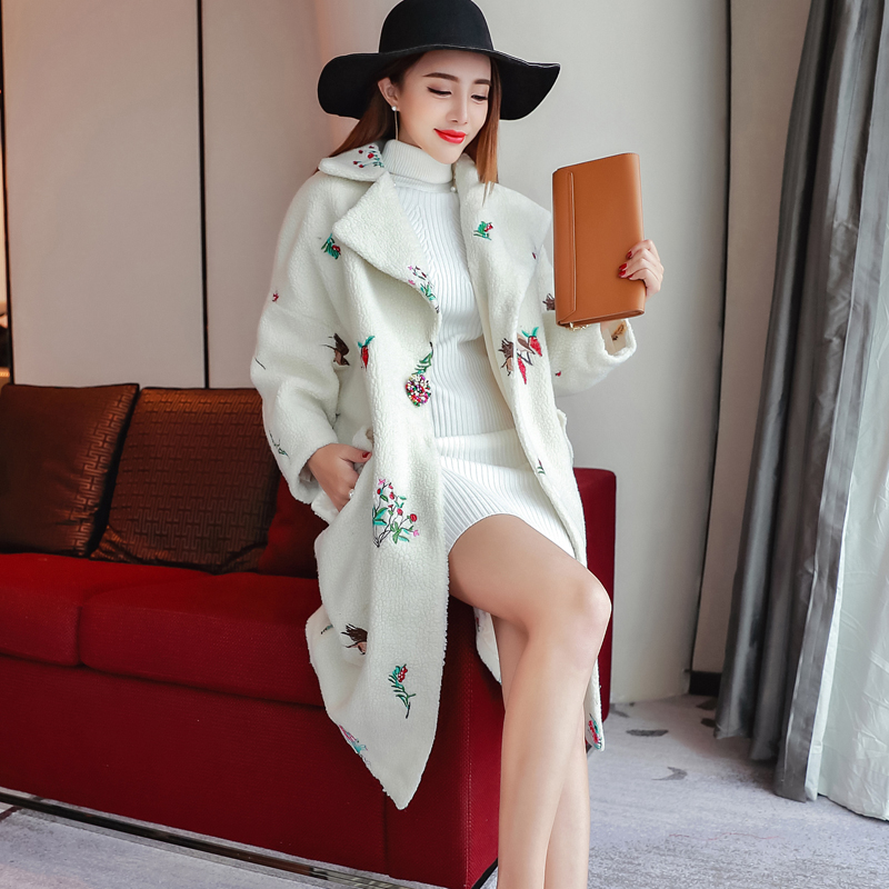 Quintina 2017 New Fashion Long Style Loose Women Coat Casaco Feminino Turn Down Collar Female Overcoat Winter Coat Women