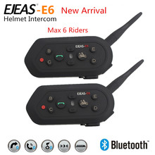 2PCS E6 Wireless Full Duplex Helmet Intercom BT Interphone 1200M Motorcycle Bluetooth Helmets Headset Walkie Talkie for 6 Riders