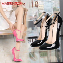 Brand Shoes Woman High Heels Ladies metal 16CM Pumps Women Sexy Black RED Wedding Stiletto