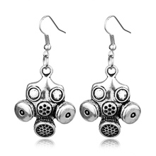 Doctor Who Gas Mask Drop Earrings Steampunk Neo Victorian Gothic Zombie Apocalypse Cyber Goth