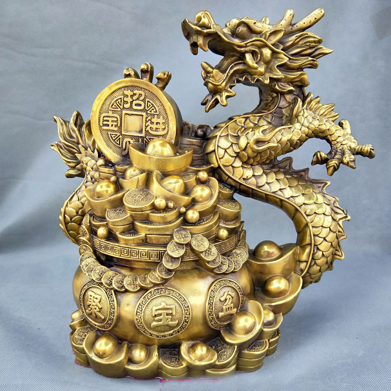 37 CM grand # accueil boutique hall haut décoration ART FENG SHUI affaires bonne chance apporter de la richesse dessin argent royal dragon Statue
