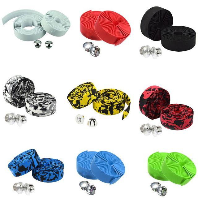 Road Bike Bicycle Handlebar Tape Camouflagebelt Cycling Handle Belt Cork Wrap with Bar Plugs non slip absorb sweat 1