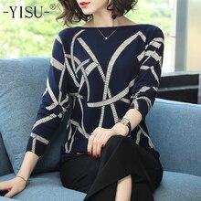 YISU ルースセーター 2019 春幾何学プリントカラーブロック O ネックプルオーバー女性ニットセーター長袖ニットセーター