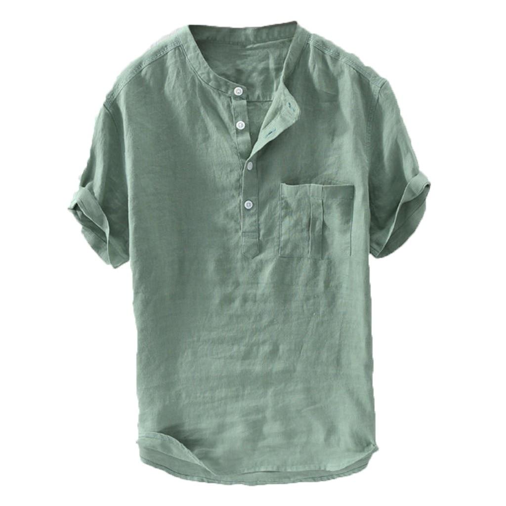 JAYCOSIN גברים של קיץ חדש טהור כותנה קנבוס כפתור קצר שרוולים אופנה גדול חולצה למעלה חולצה איש צווארון קצר שרוול יולי 26