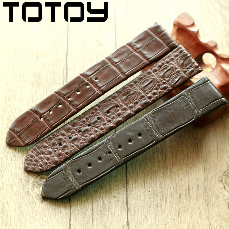 Image 5 - TOTOY Handmade Crocodile Leather Watchbands,Matching Antique Rretro Watchbands, 18 20 22MM Leather Men's Strap, Fast Delivery-in Watchbands from Watches
