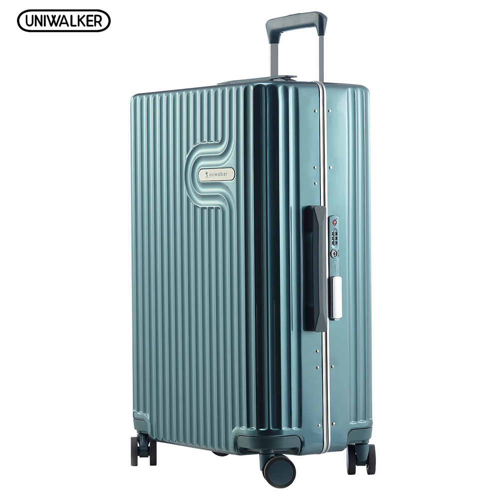 UNIWALKER 100% PC 20''24''26'' Inch Rolling Luggage Aluminium Frame Suitcase Trolley Solid Travel Bag Spinner Wheels TSA Lock vintage suitcase 20 26 pu leather travel suitcase scratch resistant rolling luggage bags suitcase with tsa lock
