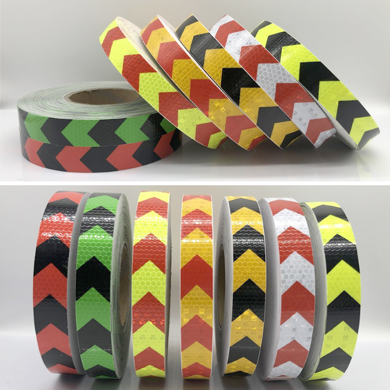 25mmx25m Double Colors Arrow Pattern Mesh Reflective Ribbon Car Sticker Automotive Style Vehicle Truck Motorcycle Warning Tape