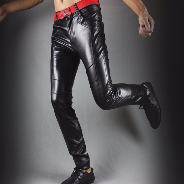 Winter new leather pants men Slim flesh tight pants motorcycle night club hair stylist feet leather pants tide 24