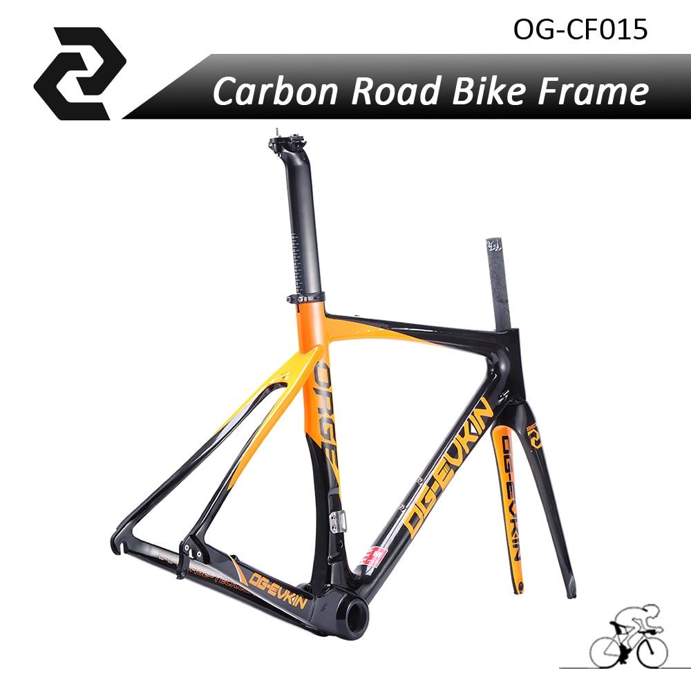 New OG-EVKIN Carbon Bike Road Bicycle Frame 3K weave BB386 Glossy Carbon Frame+Fork+Seat post+clamp Size 49/52/54/56cm top selling og evkin 3k weave bb386 carbon road bike frame aero carbon bicycle frameset 49 52 4 56cm
