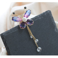 New exquisite multicolor crystal butterfly brooch simple temperament tassel brooch wild brooch accessories