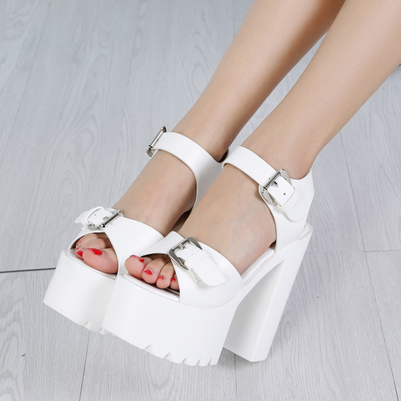 POADISFOO 2018 Summer high-heeled Shoes 14CM Thick Sandals T Table With The Nightclub Hate High Belt Buckle Sandals .ZYW-651-5