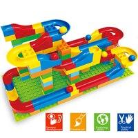 YETAA Big Size Building Bricks Funnel Slide Marble Race Run Maze Balls Race Track Building Blocks Compatible Legoed Duploed Toys