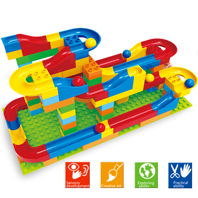YETAA Big Size Building Bricks Funnel Slide Marble Race Run Maze Balls Race Track Building Blocks Compatible Legoed Duploed Toys
