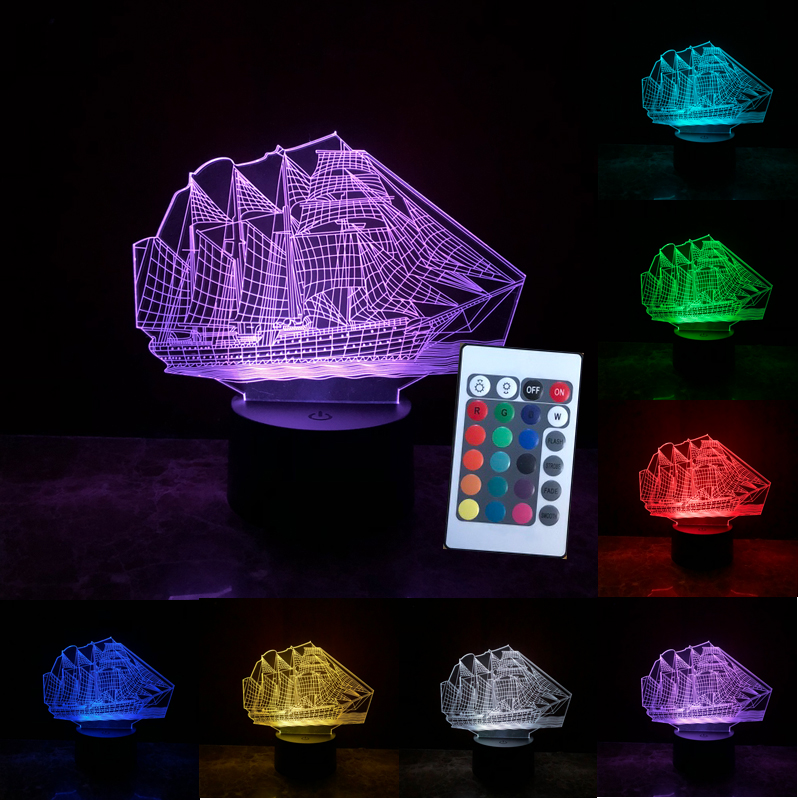 Creative 3D Sailing Boat ship Night Light USB Led Table Desk Lamp 7 Colors illusion Luminaria Child Kids Home Cafe Decoration high quality 3d led night light usb switch table lamp lanterna for home decoration