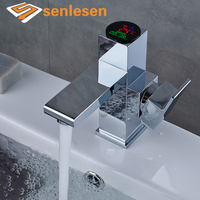 Wholesale And Retail Basin Faucet Temperature Display Chrome Brass Vessel Sink Cold And Hot Water Mixer