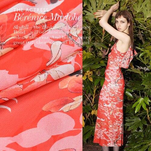 100% soie Georgette tissu 140 cm de large 12mm translucide affaissement soie tissu rose rouge dahlias section bricolage été nouveau tissu