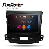 Funrover 9 Android 8,0 автомобиль dvd gps плеер Navi для Mitsubishi Outlander 2006 2014 с 2 г + 32 4 ядра Авто радио мультимедиа FM