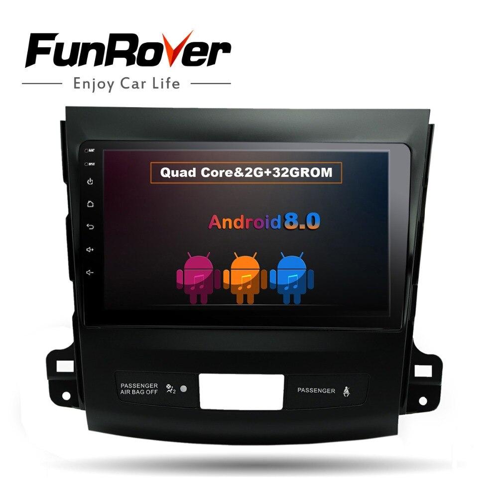 Funrover 9 Android 8.0 Car dvd Player GPS de Navegação para Mitsubishi Outlander 2006-2014 com 2g + 32 Quad Core Multimídia Rádio Auto FM
