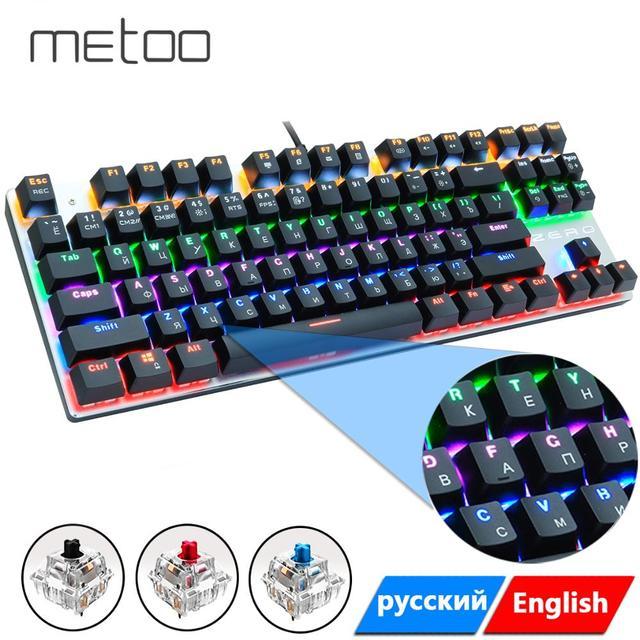 Mechaniczna klawiatura gamingowa 87/104 klawisze rosyjski/angielski USB przewodowa podświetlana LED gra klawiatury niebieski/czerwony przełącznik dla graczy komputerowych