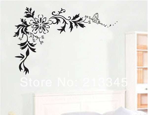 Fundecor simple floral flower vine plant wall stickers living room home decor decals black removable 5183 in wall stickers from home garden on
