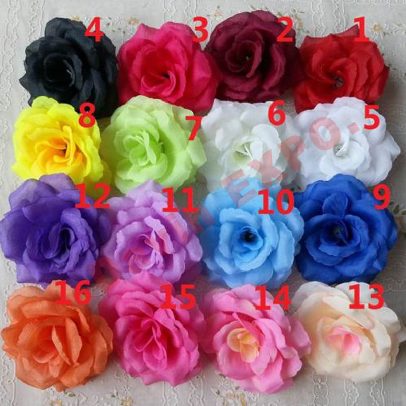 (Can Mix Color) NEW 50PCS  Artificial Rose Silk Flower  Heads Decoration for Wedding Party  Banquet  Decorative Flowers