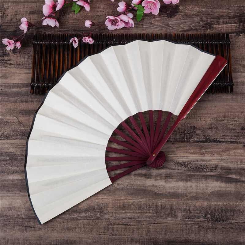 1Pcs DIY Chinese Japanese  Plain Color Bamboo Large Rave Folding Hand Fan Event Party Supplies For Men/Women