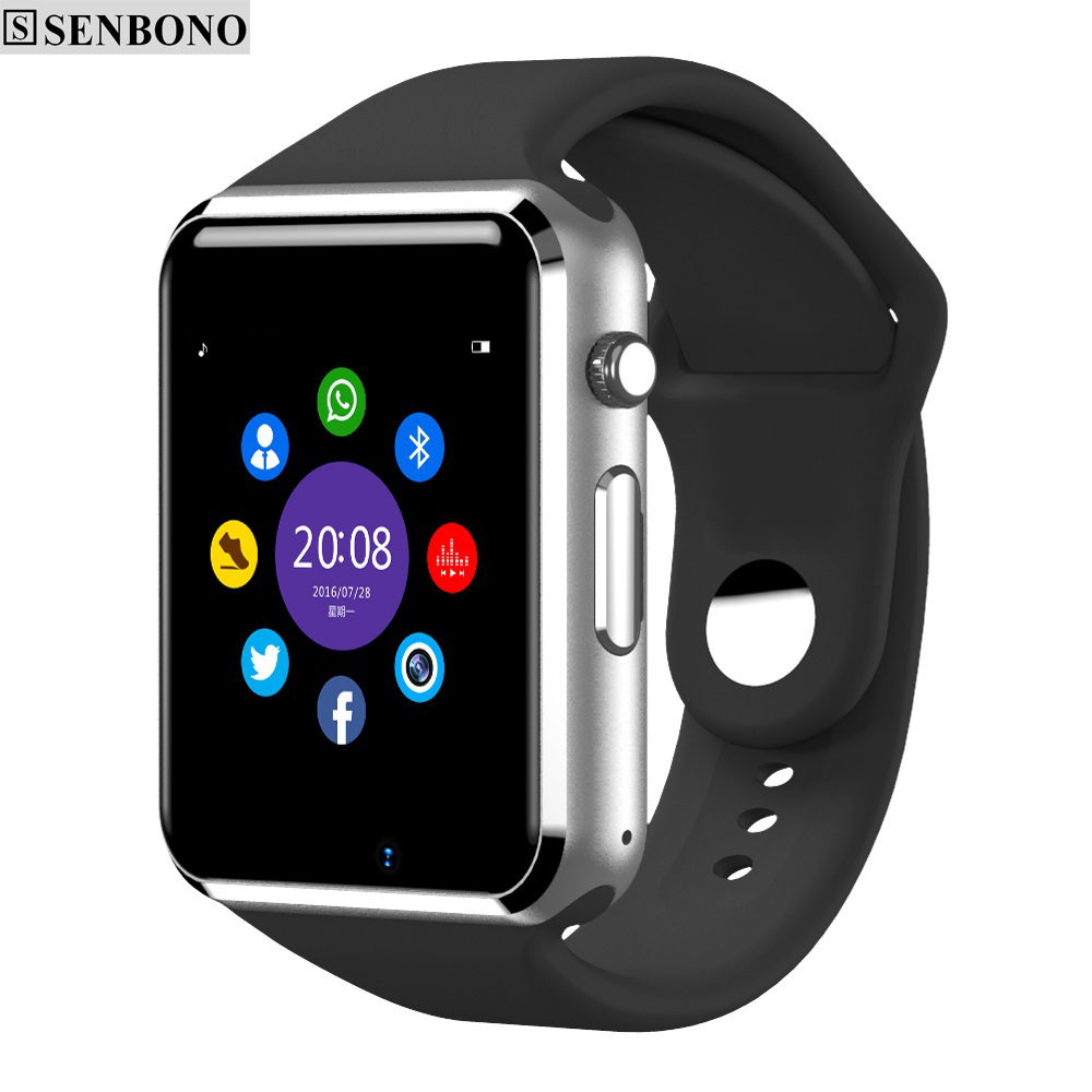 SENBONO Bluetooth Smart Watch Pedometer Sleep Monitor Notifier SMS Call Reminder Clock Touch Screen Smartwatch for Andorid