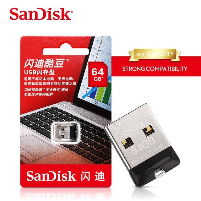 100% Original SanDisk USB 2.0 CZ33 Mini Pen Drives 64GB 32GB 16GB 8GB USB Flash Drive Stick U Disk USB Key pendrive Freeshipping