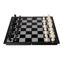 Traditional Black White Color International Chess Set Magnetic 32 Pieces & Foldable Board Crack Resistant 3 Sizes