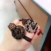 Korea Leopard Druck Blume Kristall Elastische Haar Bands Diamant Haar Zubehör Haar Bögen Rubber Band Haar Ring Gum Für Frauen