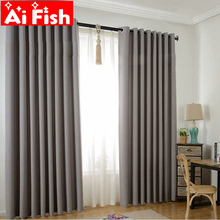 Solid Blackout Thicker Linen Shade Thermal Insulated Modern Curtains for Living Room Window Curtains Blinds Custom