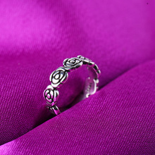RE Vintage rose flower rings for women girl bohemia antique silver color middle rings floral knuckle ring adjustable O35 цена