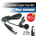 Professional Lavalier Lapel Tie Clip Cardioid Condenser Microphone For Shure Wireless Body-Pack Transmitter mini 3 Pin XLR TA3F