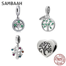 Sambaah 925 Sterling Silver Dangle Family Tree Pendant with CZ Stone Charm Beads for Original Pandora Style Bracelet