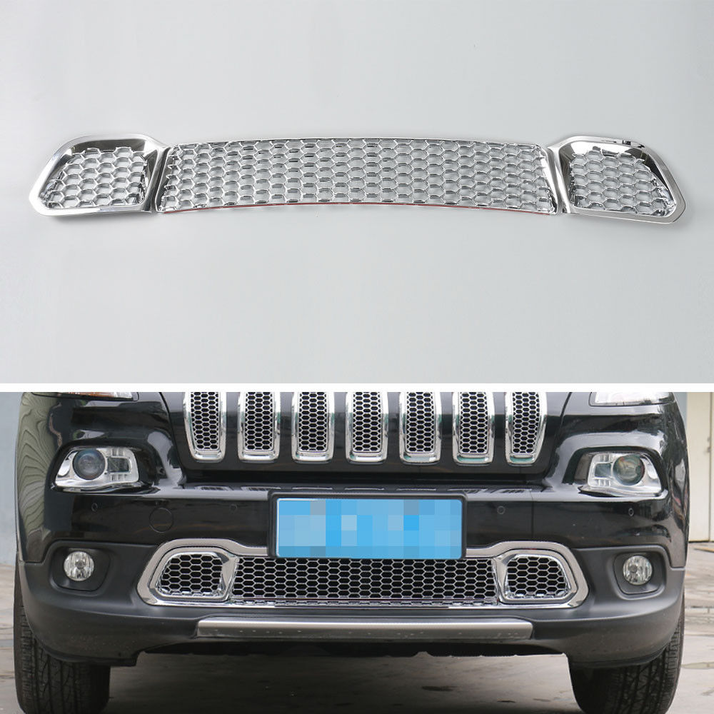 BBQ@FUKA 3pcs ABS Chrome Car Front Grill Bumper Grille Mesh Cover Trim Fit For Jeep Cherokee 2014 2015 2016 car protector decal