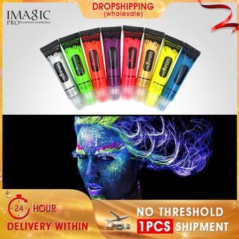 IMAGIC 8 kolorów makijaż piękno fluorescencyjne farby Neon kolor twarzy malowania ciała UV reaktywne lampy Party ciała fluorescencji hurtownie tanie i dobre opinie Farba ciała 13ml imagic-YGYC Body Paint Body painting Fluorescence Safety painting