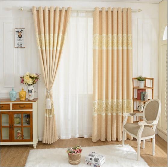nuevos acabados de color beige flor apagn cortina para sala de estar del dormitorio panel de la cortina de ventana cortinas de