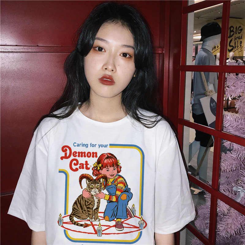 Сатана демон Грим жнец сатанин адская забавная футболка злой дух череп футболка для женщин ужас футболка Женская Хэллоуин