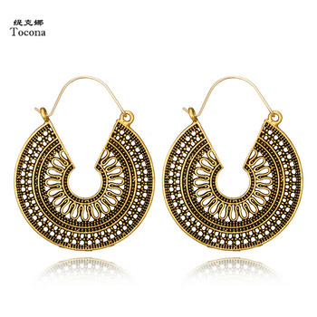 Tocona Vintage Antique Gold Silver Black Hollow Flower Metal Hoop Earrings Womens Fashion Jewelry 1