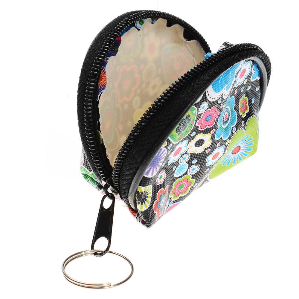 Портативный цветок точка печатных женщин леди наушники гарнитура портмоне для ключей Сумочка Кошельки случайный цвет