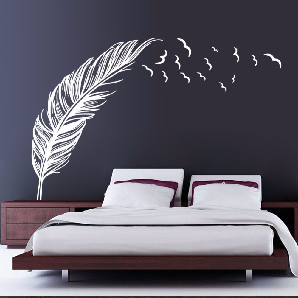 Wall decoration stickers for bedroom - Black White Feather Art Vinyl Quote Wall Stickers Home Wall Decals Wall Decor 120x180cm China