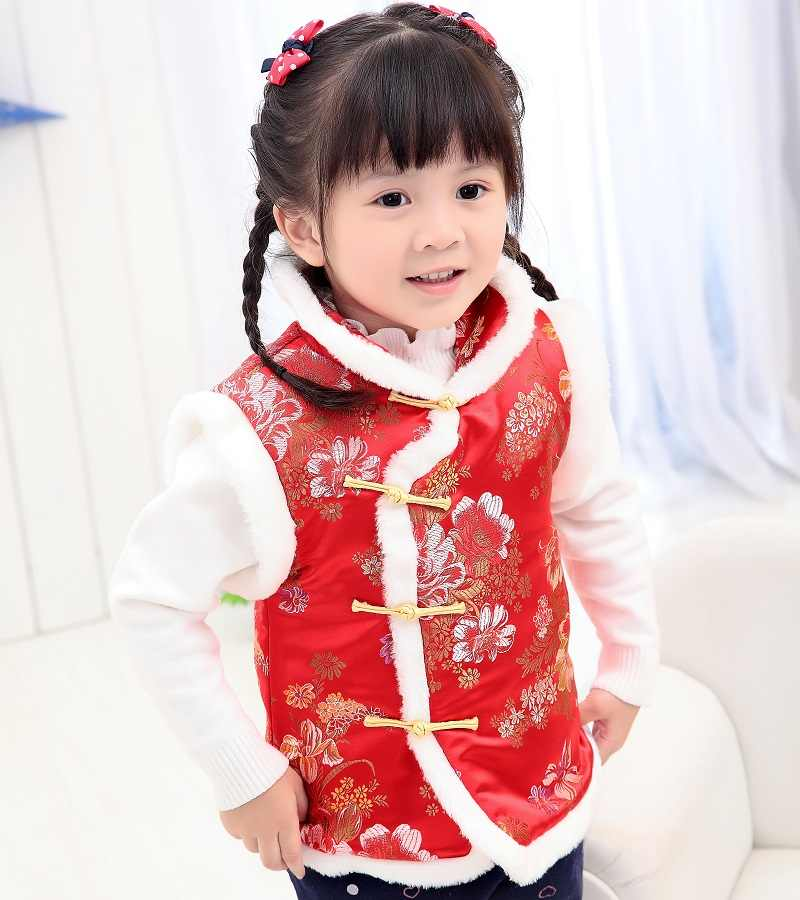 3fe89bdd50f4 ... Red Floral Baby Girl Waistcoat Peony Children Vest Tank Tops Chinese  Traditional Qipao Outfit Sleeveless Girls ...