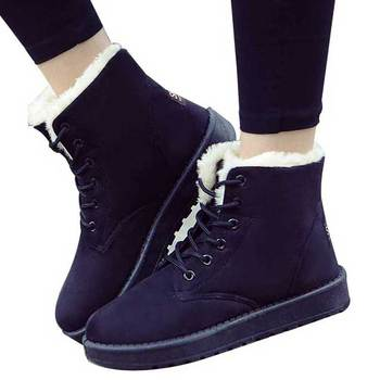 Warm Plush Shoes Women Winter Boots Shoes Fashion Ladies Ankle Boots Lace Up Snow Boots Women Suede Insole Black Botas Mujer