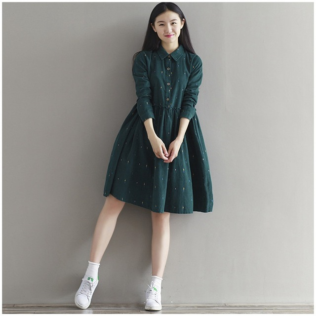 Winter Autumn Dresses Green Color Long Sleeve Casual Loose Dresses Turn Down Collar Corduroy Dress A Line Lolita Dress